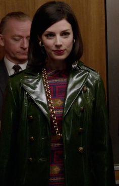 Mad Men Megan Draper Green Rain Coat. I've never wanted a rain coat more than I have this one!  I'm dying!