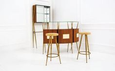 Bar Cabinet With Two Stools