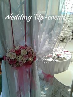 La tenda,organza,cristalli e fiori in pasta di carta..made  Wedding Up-eventi