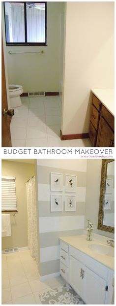 Love the stripes! Budget bathroom renovation for under $200! Tons of ideas for how to update old bathrooms.