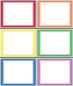 "Free Printables - Enhance your classroom or TpT graphics with this super simple Polka Dot Template in happy rainbow colours. Red, orange, yellow, green, blue, and purple backgrounds make the simple white label pop. 8.5"" x 11"" with .15"" margins for easy printing. Free for personal/commercial use as per Terms of Agreement."