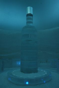 Giant Finnish Vodka bottle at the Snowvillage