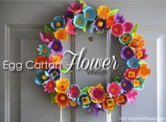 egg crate flower wreath spring