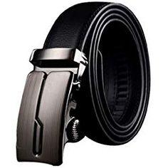 Panegy - Cinturón Clásico de Piel Cuero con Hebilla Automática Para Hombres  - Negro - 130cm b335babfc27d
