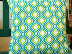 Kiwi Green Turquoise OUTDOOR Decorative Throw by SeamsToMe23