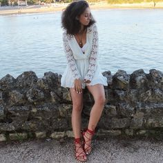 Lookbook Store's white crochet romper styled by @lenamahfouf #LBSDaily | Lookbook Store OOTD