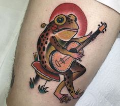 Traditional frog rocking out by Steve C Southside Australia. Traditional Snake Tattoo, Traditional Tattoo Flash, American Traditional Tattoos, Traditional Sleeve, Neo Traditional, Daddy Tattoos, Frog Tattoos, Tattoos For Guys, R Tattoo
