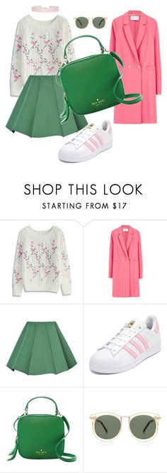 """Pink-green 🐷🐍"" by kinga-staudt ❤ liked on Polyvore featuring Chicwish, Harris Wharf London, WithChic, adidas, Kate Spade, Karen Walker and Humble Chic"