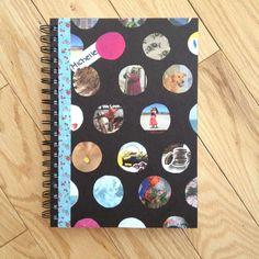 DIY polkadot notebook cover-fabric pieces and photos