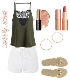 """""""Happy Hour 💋"""" by sindhunaga4 on Polyvore featuring Topshop, Jennifer Zeuner, Bobbi Brown Cosmetics, Charlotte Tilbury and Havaianas"""