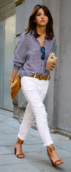 Go gingham! Wear your favorite navy patterned shirt with crisp white jeans and add tan accessories. Such a classic combo.