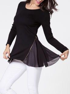 Round Neck Zips Asymmetric Hem Long Sleeve T-shirt