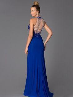 Rojo, Azul Real Etui-Linie Juwel-Ausschnitt Ärmellos Perlenstickerei Bodenlang Jersey Vestidos por €615,88
