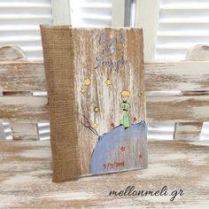 Ξύλινο χειροποίητο Βιβλίο Ευχών Μικρός Πρίγκιπας Burlap, Reusable Tote Bags, Ideas Para, Hessian Fabric, Jute, Canvas