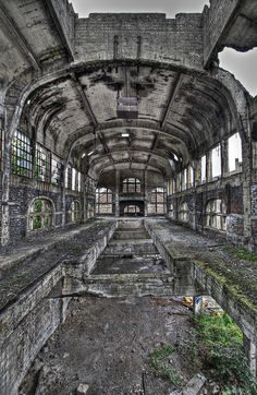 One of Charleroi's old industrial buildings – and a former mine (pictured here) – was even converted into a zoo, but that idea was evidently abandoned too. Who knows what happened to the animals. Old Abandoned Buildings, Old Buildings, Abandoned Prisons, Derelict Places, Abandoned Places, Abandoned Belgium, Places Around The World, Around The Worlds, Beautiful Ruins