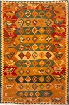 Kilim Style Rugs | Shiraz Rugs: Bird Border Shiraz Kilim