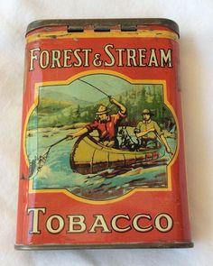 VINTAGE ADVERTISING FOREST & STREAM CANOE TOBACCO VERTICAL POCKET TIN-No Reserve