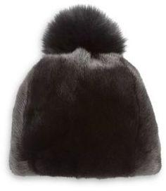 The Fur Salon Mink & Fox Fur Pom-Pom Hat