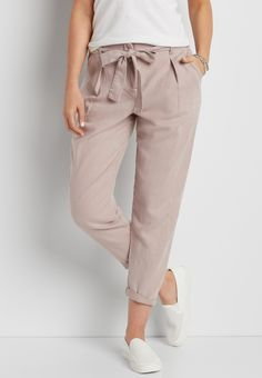 linen ankle crop pant with tie waist