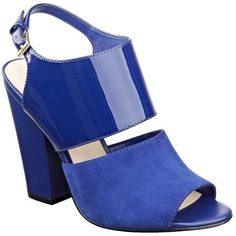 Nine West Oresah Mixed Media Sandals (¥6,270) ❤ liked on Polyvore featuring shoes, sandals, heels, blue, blue heeled sandals, block-heel sandals, leather heeled sandals, open toe sandals and blue leather sandals