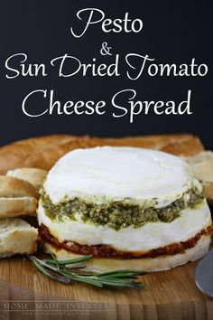 This is one of my favorite appetizers to make and it is always a hit. I've served it at baby showers, bridal showers, birthday parties, dinner parties, holidays parties,  you name it this easy recipe is the answer! Made with basil pesto, sundried tomato pesto, goat cheese and cream cheese it is decadent and delicious spread on crostini. #MezzettaMemories #sp