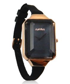 Another great find on #zulily! Rose Gold & Lights Out Black Union Gem Watch by RumbaTime #zulilyfinds