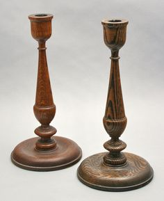 Pair of turned wooden candlesticks attributed to Frank Fell, Mayville, 1905-1935