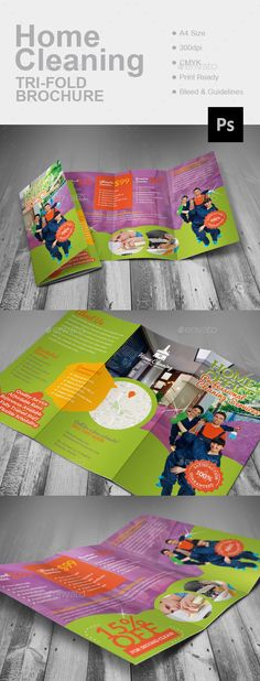 Home Cleaning Tri-Fold Brochure Template PSD #design #promote Download: http://graphicriver.net/item/home-cleaning-trifold-brochure/13576136?ref=ksioks
