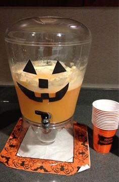 ORANGE HALLOWEEN PUNCH... REVIEW: REALLY GOOD!!! I made a few revisions from the original (http://pinterest.com/pin/126241595776153579/).  I used 44 oz. of Sprite and a carton of Orange-Pineapple juice to mix with the orange sherbert and ginger ale.  I cut out a really cute pumpkin face and taped to my punch dispenser for serving! Everyone loved it!