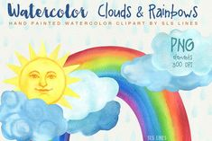 Clouds & Rainbows Watercolor Set by SLS Lines on @creativemarket