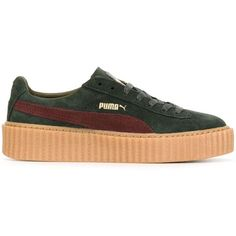 Puma Puma X Rihanna Creeper Sneakers ($191) ❤ liked on Polyvore featuring shoes, sneakers, green, puma shoes, puma trainers, genuine leather shoes, green shoes and creeper sneakers
