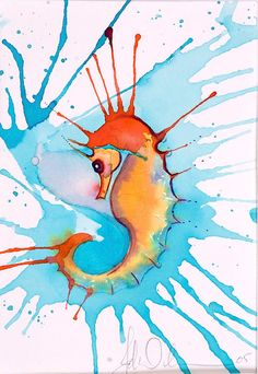 Splash Seahorse by JaneWilcoxsonStudios on Etsy, $35 to $40.  Buy a print for your home!  Full rich color Archival Giclee Print