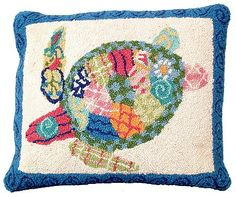 Patchwork Sea Turtle Throw Pillow