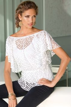 Crochet flutter-sleeve blouson top in {productContextTitle} from {brandTitle} on shop.CatalogSpree.com, your personal digital mall.