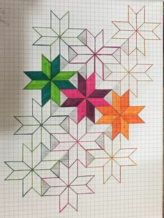 Graph Paper Drawings, Graph Paper Art, Art Drawings Sketches Simple, Easy Drawings, Graph Design, Geometric Pattern Design, Pattern Art, Star Quilt Patterns, Star Quilts