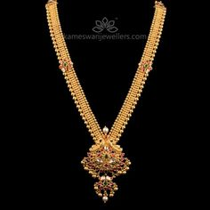 Stunning gold vaddanam collections by Kameswari Jewellers. Shop online from South India's finest traditional jewellers. Pearl Necklace Designs, Jewelry Design Earrings, Gold Earrings Designs, Gold Necklace, Gold Designs, Antique Necklace, Necklace Set, Gold Temple Jewellery, Saree Jewellery