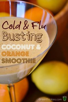 This cold and flu busting orange and coconut smoothie is amazing for preventing and reducing the length of a cold. I need this today! - This cold and flu busting orange and coconut smoothie is amazing. Coconut Smoothie, Juice Smoothie, Smoothie Drinks, Healthy Smoothies, Healthy Drinks, Smoothie Recipes, Healthy Snacks, Vitamix Recipes, Blender Recipes