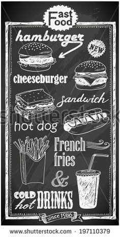 hand-drawn fast food menu on chalkboard