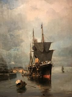 The disembarkation - by Konstantinos Volanakis, Greek painter Greek Paintings, Seascape Paintings, Landscape Paintings, Costa, Post Impressionism, Greek Art, Art Database, Oil Painting Reproductions, Chiaroscuro
