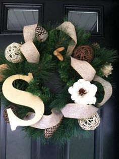 beautiful  winter wreath monogrammed wreath holiday by jennyCmoon, $55.00 by summer