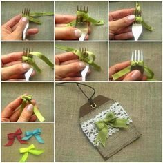 Mini Fork Bow Tutorial - I am pinning this just so I can refer to it when it comes to making these bows! Diy And Crafts, Arts And Crafts, Paper Crafts, Fork Crafts, Fork Bow, Creation Deco, Bow Tutorial, Photo Tutorial, Flower Tutorial