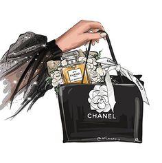 Fashion Collage, Fashion Wall Art, Fashion Prints, Chanel Wall Art, Chanel Art, Fashion Images, Fashion Pictures, Fashion Illustration Chanel, Drawing Bag