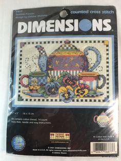 "Teatime Pansies Dimensions Counted Cross Stitch Debbie Mumm 7""x5"" NIP 6877 2001 #Dimensions #debbiemumm #teatimecollection"