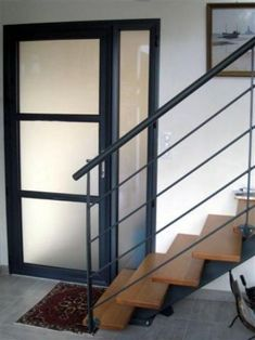 Porte Tierce Alu, vitrage Satinovo Exterior Doors With Glass, Glass Front Door, Architecture, Mudroom, New Homes, Stairs, Stair Design, House, Inspiration