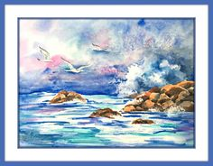 Watercolor Seascape & Seagulls by Martha Kisling Watercolor Ocean, Watercolor Trees, Watercolor Landscape, Your Paintings, Beautiful Paintings, Wave Rock, Southwestern Art, Mountain Paintings, Ocean Waves