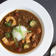 Shrimp and Okra Gumbo With this gumbo, you'll get richness and nuttiness from the roux, and sweetness from the Louisiana shrimp. Don't forget about the beautiful texture and flavor of the okra. Creole Recipes, Cajun Recipes, Seafood Recipes, New Recipes, Soup Recipes, Cooking Recipes, Gumbo Recipes, Haitian Recipes, Favorite Recipes