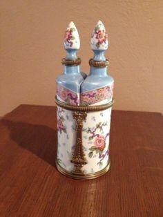Pair of French Metal Mounted Ceramic Scent Bottles | eBay