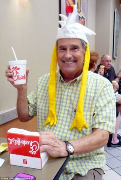23.  In old age now, Alex continues to be engaged with the brand.  He wears silly hats to the restaurant with his grandchildren that he received from all those raving fans events Chick-fil-A had throughout the years.  Other customers take note of Alex's seemingly fun and jovial mood, which they attribute to the Chick-fil-A brand.
