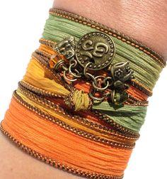 Namaste Om Silk Wrap Bracelet Yoga Jewlery by BohemianEarthDesigns, $30.95