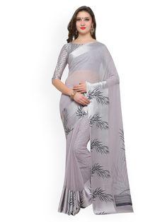 Inddus Grey Printed Poly Georgette Saree - Sarees for Women 2500724 India Sari, Grey Saree, Satin Saree, Ethnic Looks, Georgette Sarees, Printed Sarees, Beautiful Saree, Indian Sarees, Sarees Online
